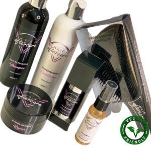 V Hair Aftercare Bundle: Hair Extension Shampoo, Hair Extension Conditioner, Intense Damage Repair, Argan Oil, Tangle Teaser & Hand Sanitizer Spray.